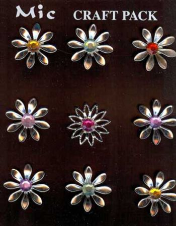 9 Silver Metal & Gem Flower Toppers